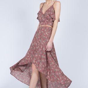 Mauve flowered Top & Skirt set